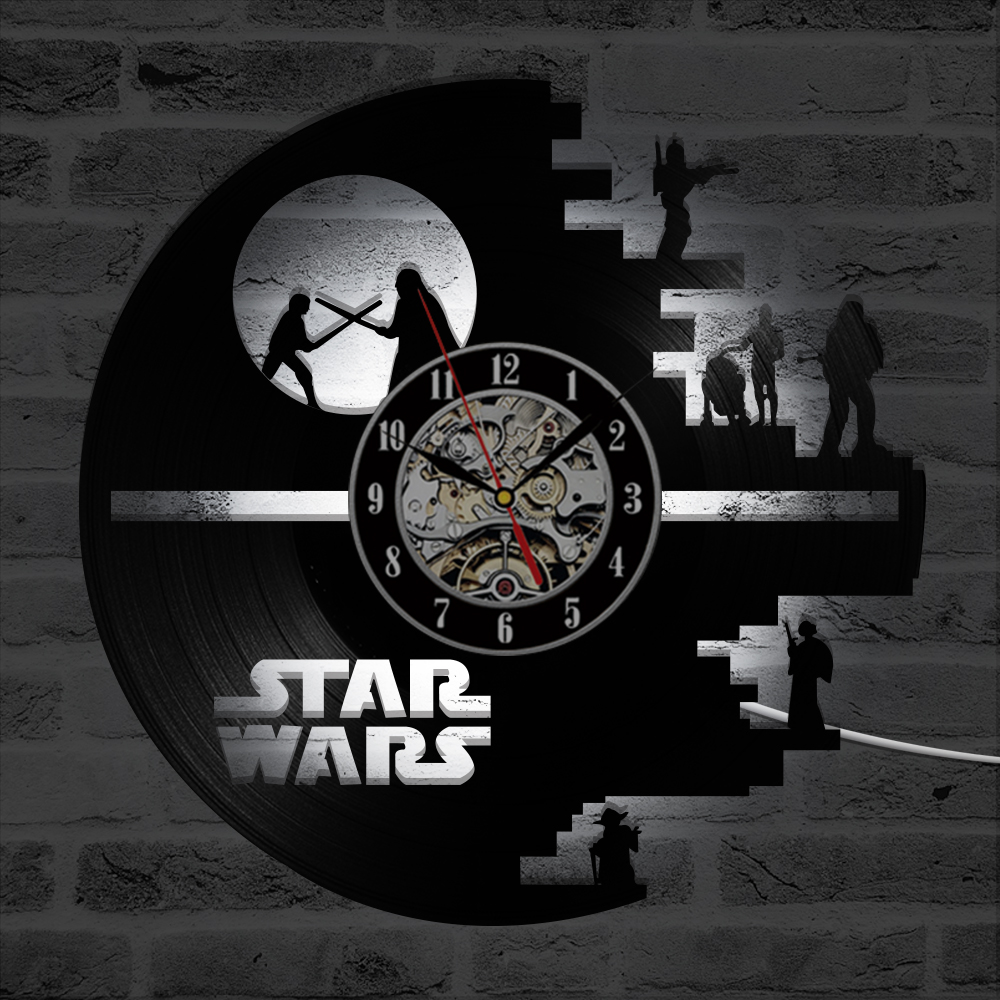 Image 4 - 3D Star Wars Record Clock Vinyl LP Hollow CD Clock Decor Home 