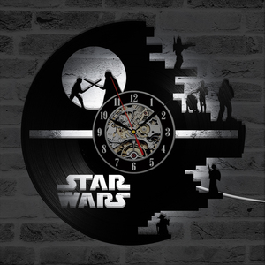 Image 4 - 3D Star Wars Record Clock Vinyl LP Hollow CD Clock Decor Home Hanging Wall Clock Creative and Antique Style LED Clock