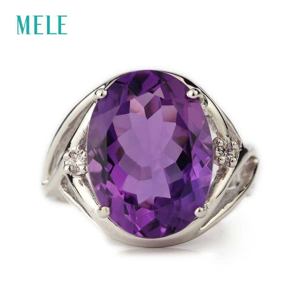 все цены на MELE Natural amethyst silver ring, oval 12mm*16mm,deep purple color and perfect cutting fire, romantic and popular ladies ring онлайн