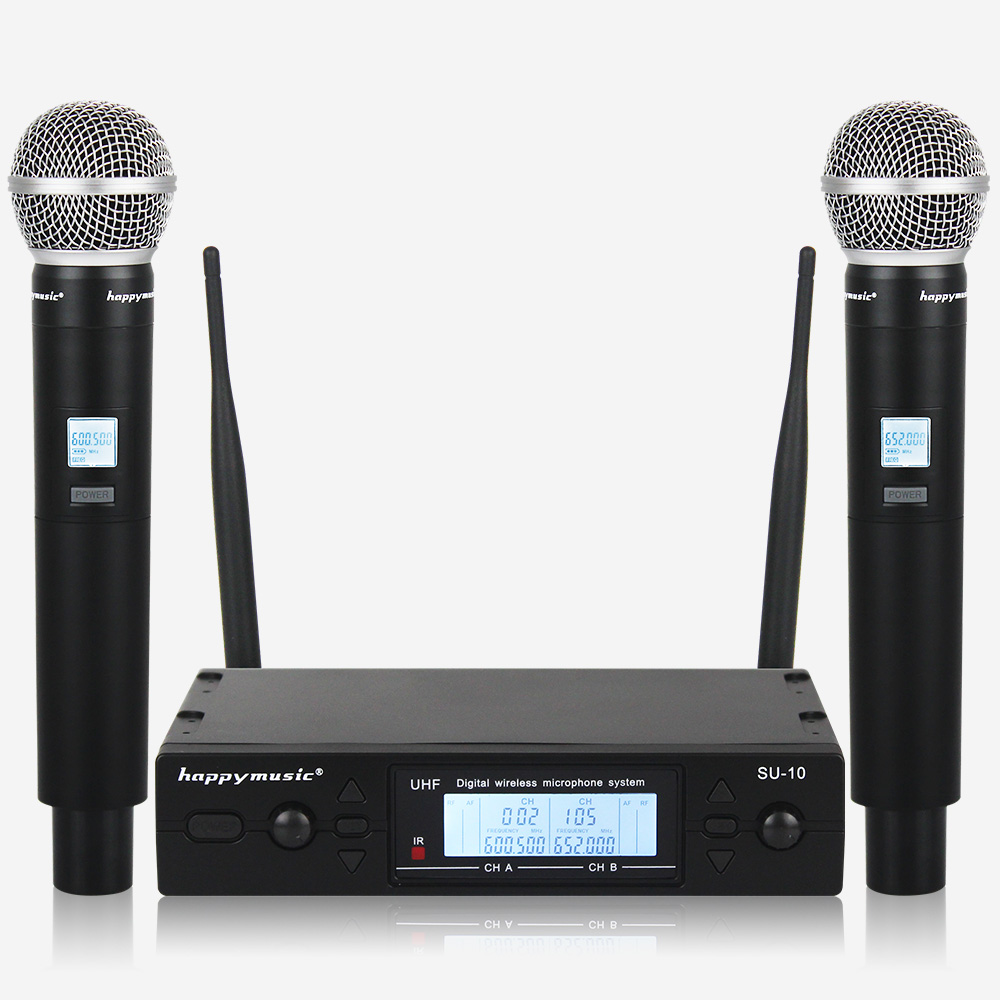 Image 4 - New High Quality UHF Professional SU 10 Dual Wireless Microphone System stage performances a two wireless microphone-in Microphones from Consumer Electronics