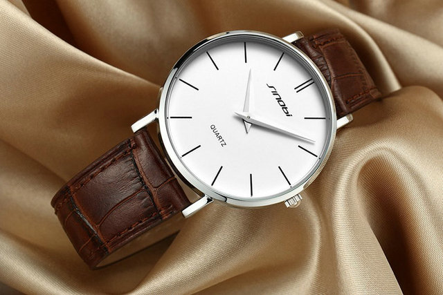 Super slim Quartz Casual Wristwatch Business JAPAN SINOBI Brand Leather Analog Quartz Watch 3