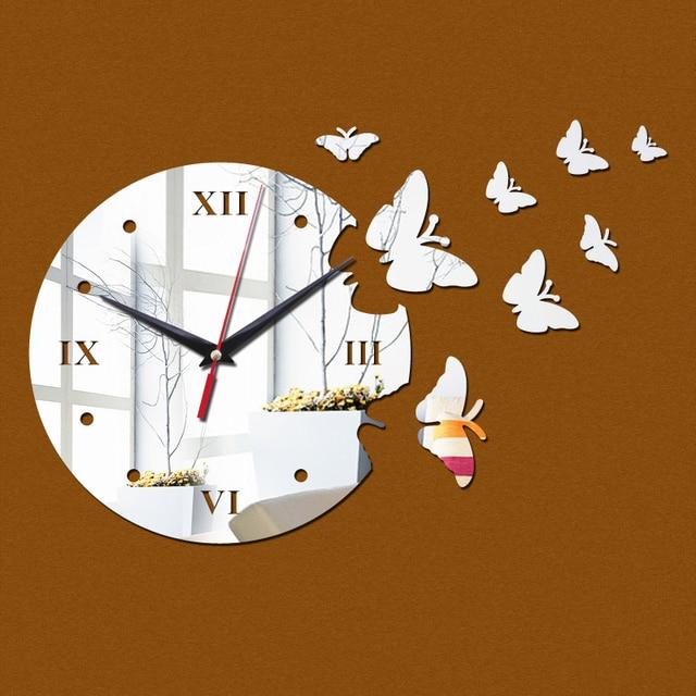 New Hot 2019 3d Acrylic Wall Clock Big Flower Design Mirror Sticker