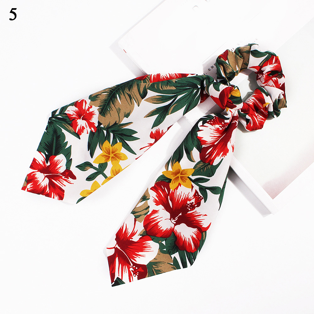 Модный летний шарф «конский хвост», эластичная лента для волос для женщин, бантики для волос, резинки для волос, резинки для волос с цветочным принтом, ленты для волос - Цвет: 5