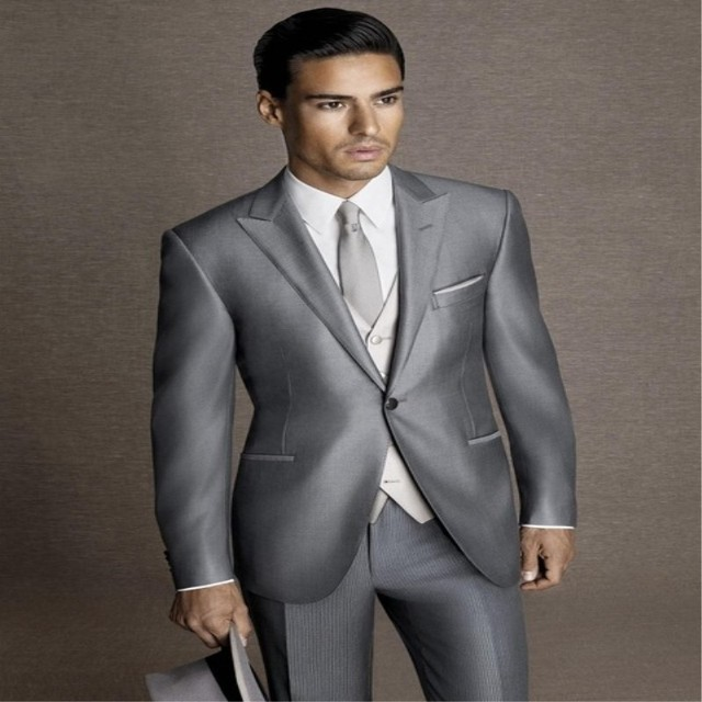 6c138549abd 2018 Latest Coat Pant Designs Silver Grey Satin Wedding Dress Men Suit  Formal Skinny Stylish Blazer
