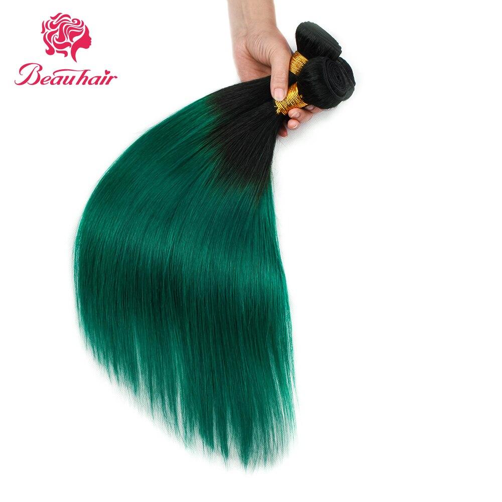Beau Hair Ombre Bundlar Med Stängning 1B / Grön Två Tone Ombre - Skönhet och hälsa - Foto 5