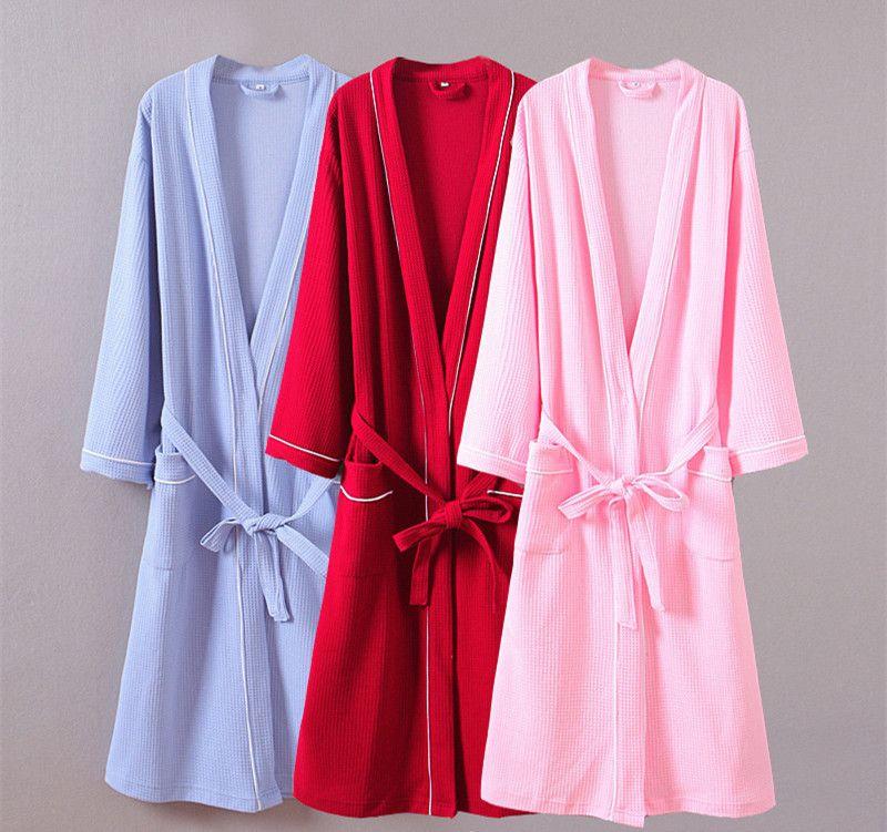 Women waffle bathrobes Women bathroom hotels spa robe plus size pajamas Traditional Yukata Sleepwear couples kimono bath robe