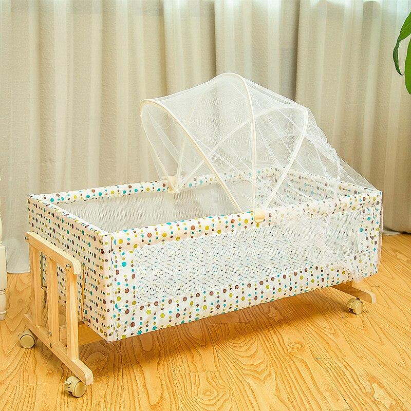 Simple lit en bois massif berceau bébé berceau Portable lit pour enfants moustiquaires avec moustiquaire rouleau 0-2month - 2
