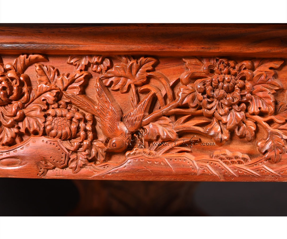 Carved Round Table Rosewood Classic Garden outdoor Desk Solid Wood Living Room Coffee Tea Furniture Annatto flower bird carving