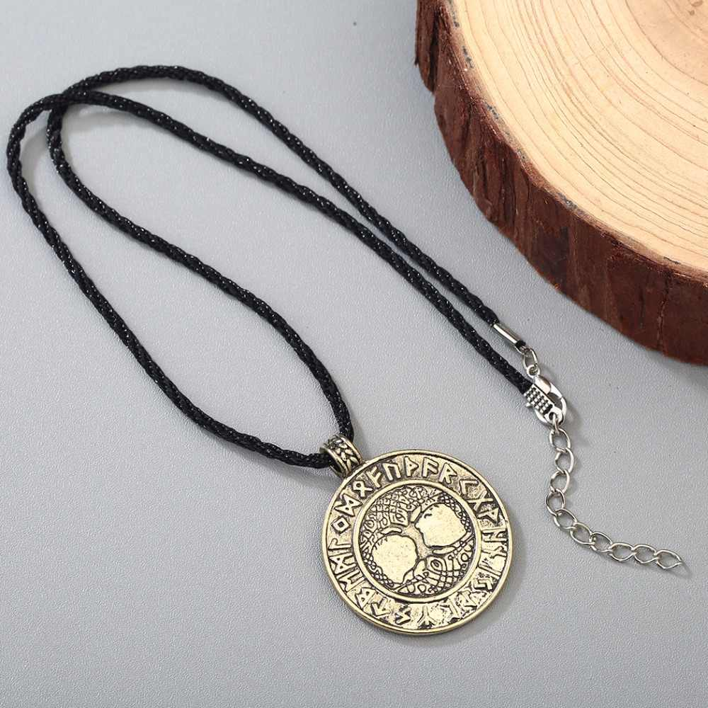 CHENGXUN Bắc Âu Vikings Rune Bùa Mặt Dây Chuyền Necklace The Tree of Life Rune Mặt Dây Chuyền Vòng Cổ Bắc Âu Talisman Chàng Trai Tuổi Teen Quà Tặng