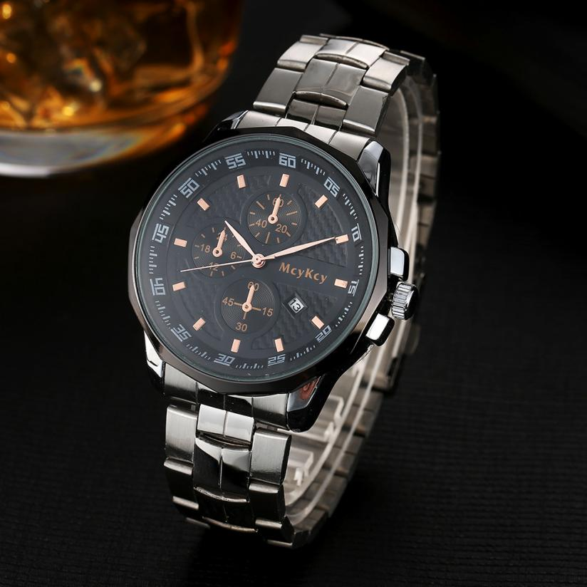 2017 Newly Designed Luxury Mens Black Dial Gold Stainless Steel Date Quartz Analog Sport Wrist Watch LEVERT DROPSHIP 327 stylish 8 led blue light digit stainless steel bracelet wrist watch black 1 cr2016