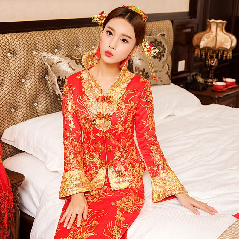 New Red traditional chinese wedding dress Qipao National Costume Womens Overseas Chinese Style Bride Embroidery Cheongsam S-XXL 1