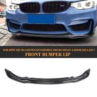 Carbon Fiber Front Bumper Lip Spoiler Splitter For for BMW F82 M4 2 Door F80 M3 Sedan 4 Door 2014 2017