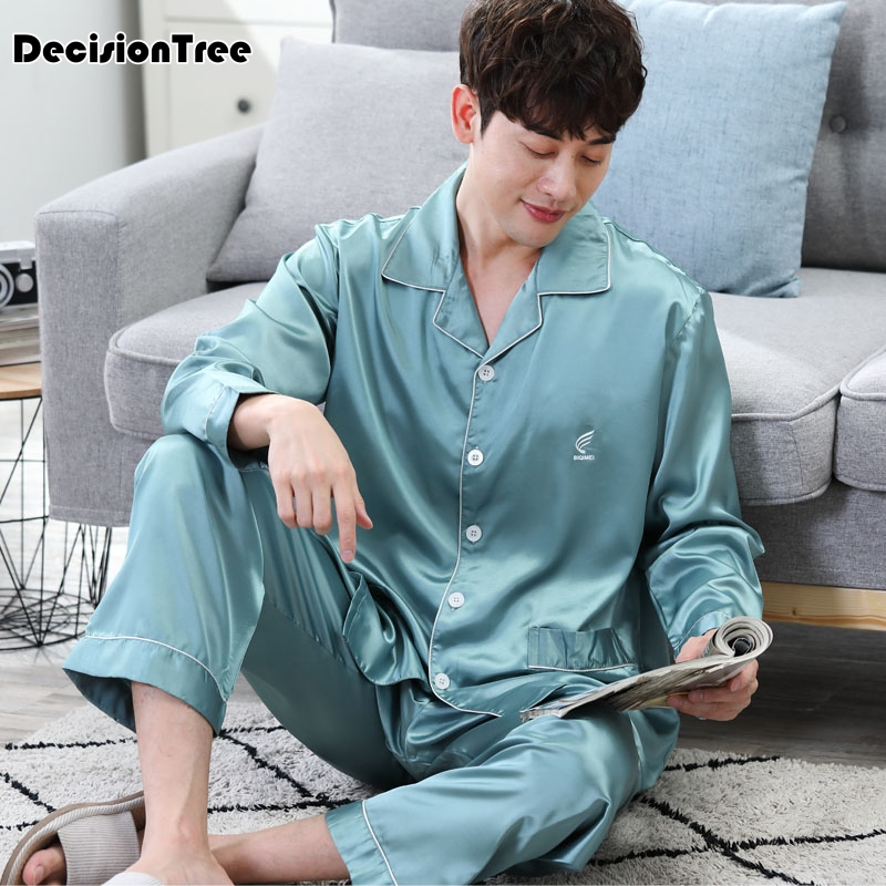 2020 Satin Sleepwear For Men Casual Silk Pajamas Top Comfortable Sleepwear Pyjamas Top Loungewear Sexy Nightwear Fits All