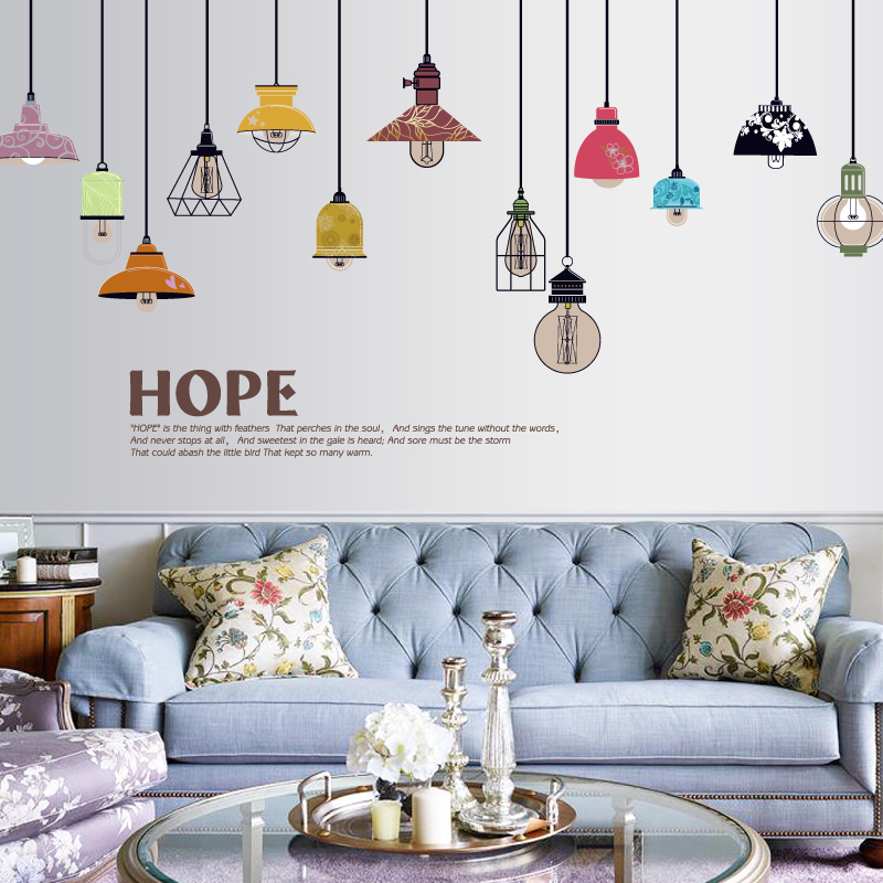 hope colorful ceiling lamp wall stickers for kids rooms adhesive home decor kitchen wall ...