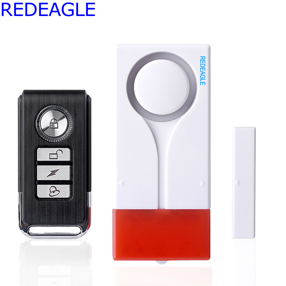 REDEAGLE Wireless Remote Control Window Door Magnetic Vibration Flahlight Louder alarm Sensor Entry Detector For Home Safe forecum 433mhz wireless magnetic door window sensor alarm detector for rolling door and roller shutter home burglar alarm system