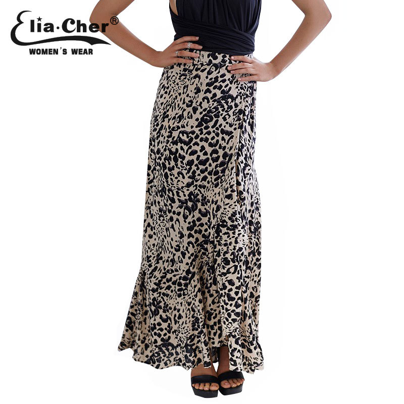 Skirts Long Maxi Skirt Eliacher Brand Plus Size Casual Women Clothing Chic Sexy Lady Long Leopard Skirt