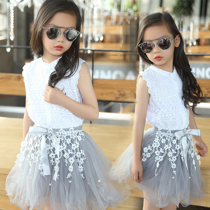 все цены на  Girls Clothing Sets Summer Cotton Lace T-Shirts+Floral Tutu Skirt 2Pcs Suits Girls Clothes Sets Fashion Princess Kids Outfits  онлайн