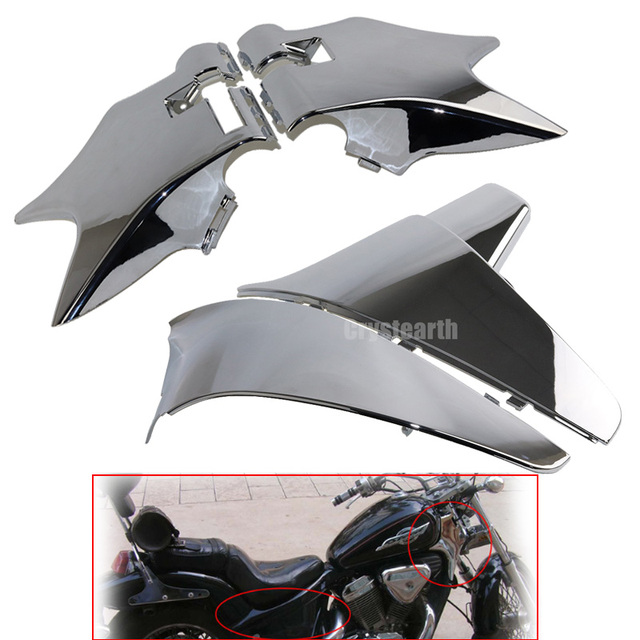 Chrome Front Cowl Neck Guard & Batteries Cover Side Faring Panel ...