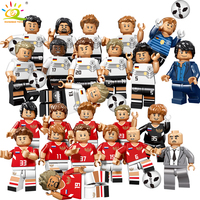 12pcs World Football Team Sports Figures Building Block Compatible Legoing City Russia Germany Bricks Children Toy