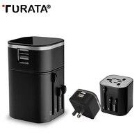 Turata 2 in 1 Travel Adapter Universele AU VS UK EU Plug 2 Usb-poort AC Power Charger Socket Muur Converter Met Rits Zak T20