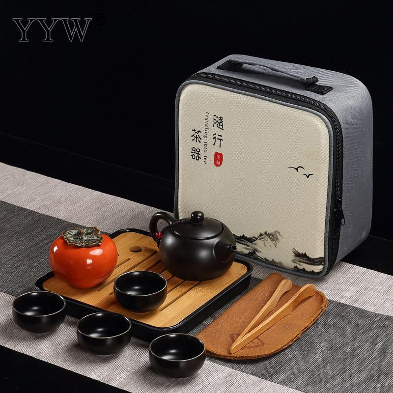 Céramique Puer thé ensembles 3 couleurs thé cérémonie cadeau argile théières accessoires Teaware Celadon thé plateau ensemble élégant Drinkware - 4