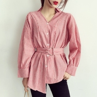 Dioufond 2017 Stripe Sashes Women Shirt Fashion Casual Long Sleeve Shirts Bow Ruffle Tie Waist Slim