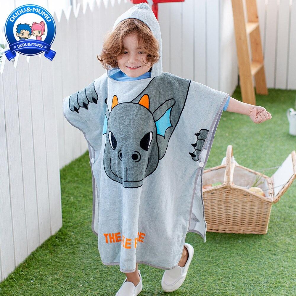 2019 Kinderen Badhanddoek Mantel En Hoed Puur Katoen Gaas Cartoon Badhanddoek Kinderen Badjas Baby Wearable Cap