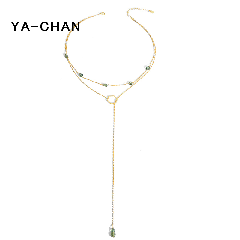 YA-CHAN Fine Jewelry S925 Natural Stone Beads Necklace&Pendant Green Tourmaline 18 K Gold Link Chain Layered Choker Necklace heart pendant beaded layered necklace