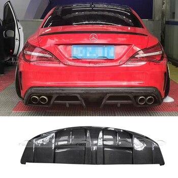 P Phong Cách Xe Tạo Kiểu Sợi Carbon Lại Môi Son Phía Sau Bumper Khuếch Tán Splitter Đối Với Mercedes Benz W117 CLA Lớp
