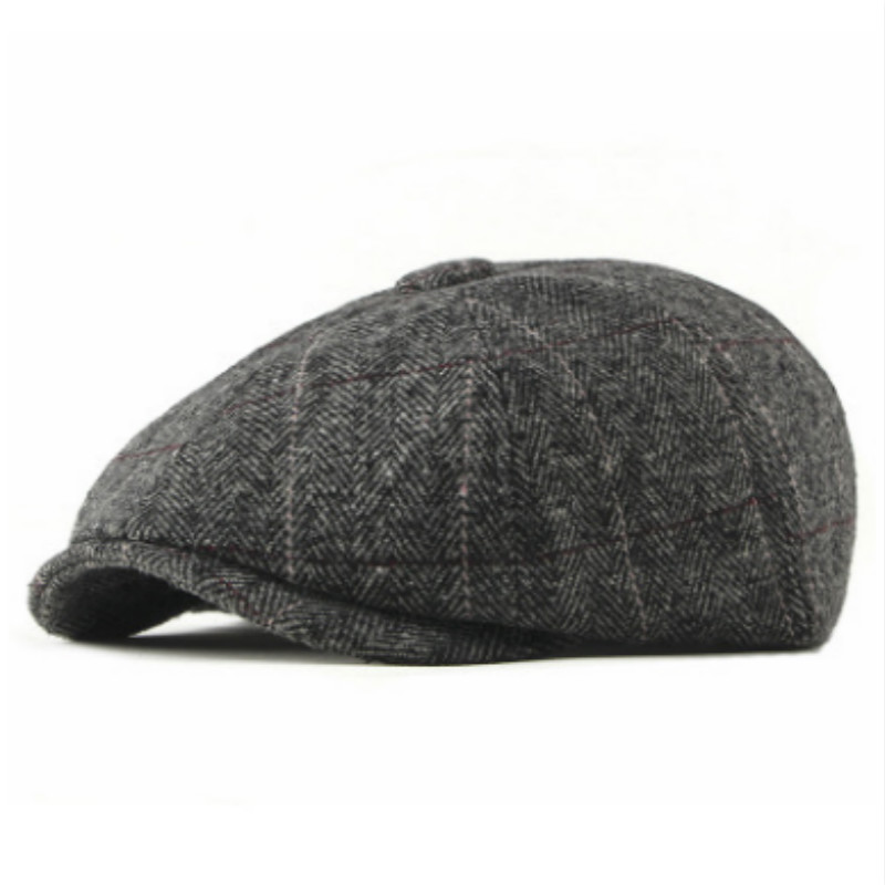 e88a1a87d1479 Fashion Striped Wool Beret For Men Vintage Woolen Winter Flat Cap Old Men  Retro Boina Ivy Cap Newsboy Style Peaked Cap Visor-in Men's Berets from  Apparel ...