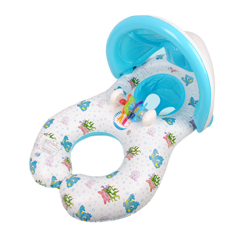 Inflatable Baby Swim Seat Float Double Swimming Pool Circle Mother And Baby Sunshade Swim Float Circle Ring With Sunshade