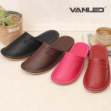 100% genuine leather spring autumn Indoor Slippers Warm sewing line Non-Slip Home floor Shoes for Men and Women couples