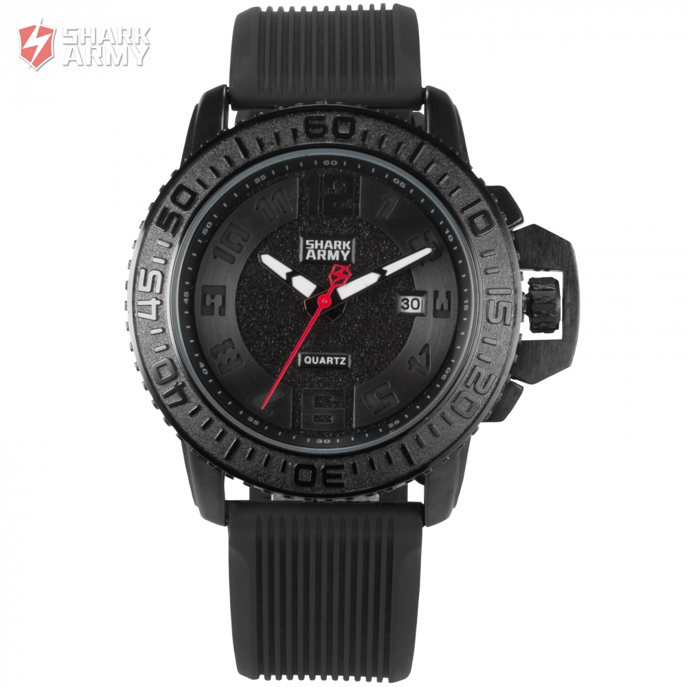 Shark Army Auto Date Black Silicone Strap Military Orologio Uomo Sport Military Quartz Wrist Casual New Watch Gift Box / SAW177 voodoo ii shark army auto date black silicone strap military wristwatch sports clock men military quartz wrist watches saw177