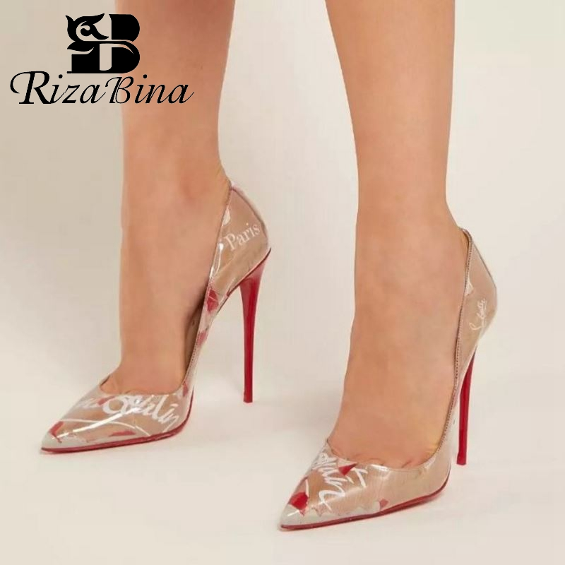 RizaBina Women High Heel Shoes Patent Leather Sexy Pointed Toe Ladies Pumps Fashion Print Nightclub Shoes
