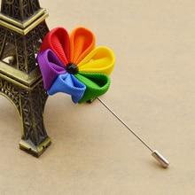 Cool Lapel Pins LGBT Rainbow Flower