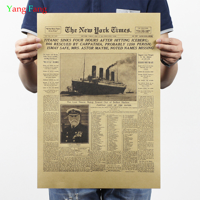 classic the new york times history poster titanic shipwreck old newspaper retro kraft paper home decoration. Interior Design Ideas. Home Design Ideas