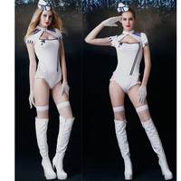 1 Set Women Sailor Costume Cosplay With Hat Gloves Stockings Air Hostess Role Play Clubwear Fancy Clothes Airline Servant Set
