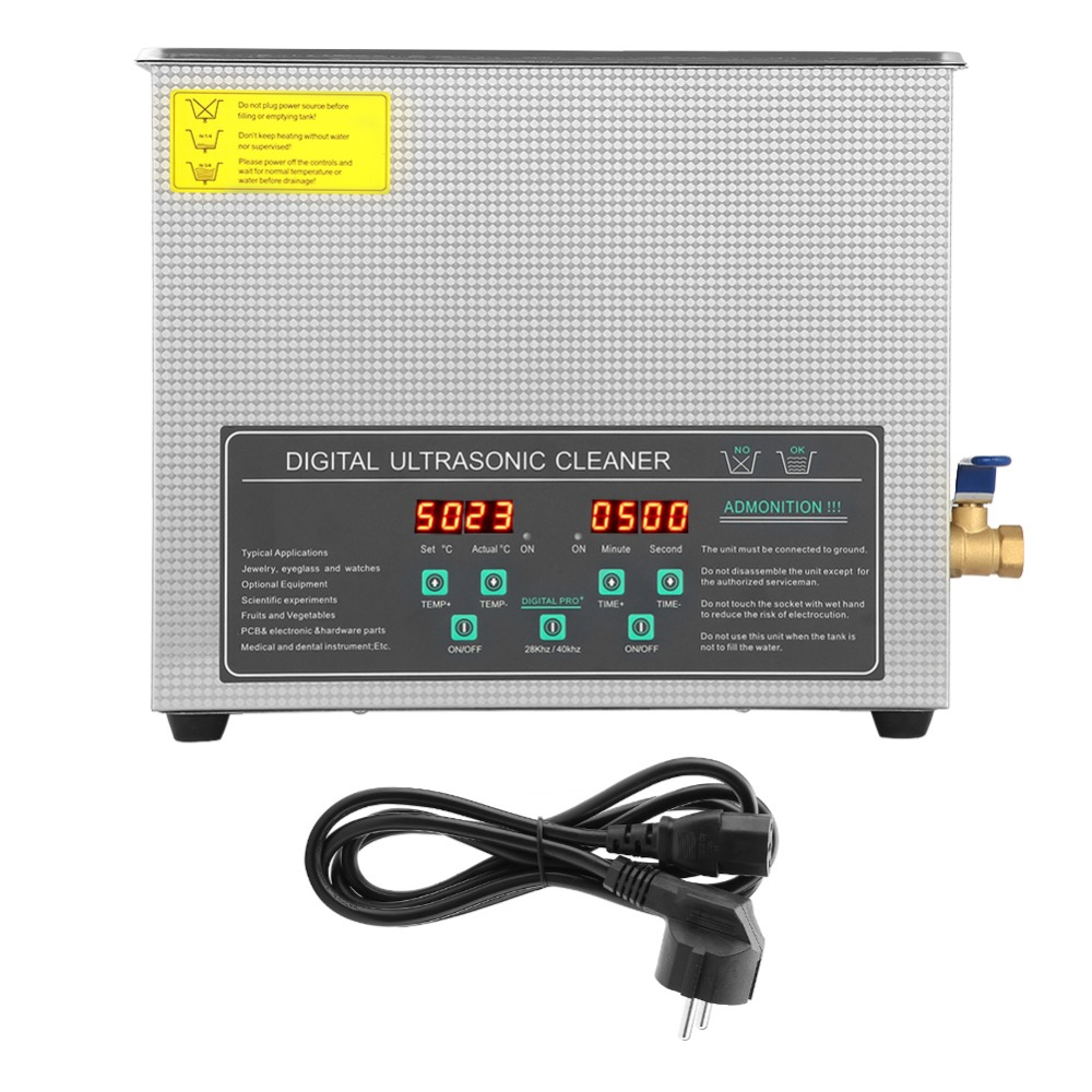 3L 6L 10L 220V Double frequency Digital Stainless Steel Ultrasonic Cleaner Cleaning Machine EU Plug Local