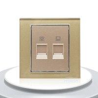 2016 New Luxury Golden Wall Crystal Glass Panel COM TEL Socket Plug 2 Gangs Electric Sockets