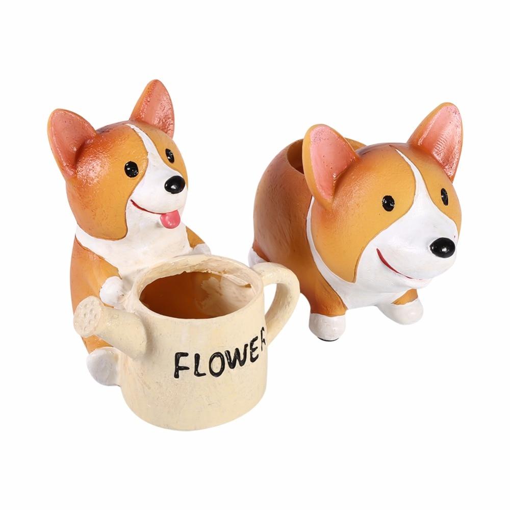 W żywica Kwiat Doniczka Słodkie Pies Corgi W Kształcie