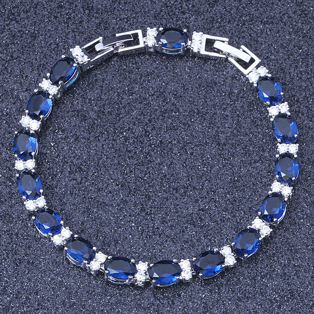 88dfd9f3675872 Free Shipping Silver Royal Blue AAA Zircon & Crystal Bracelets For Women's  Fashion Jewelry S129