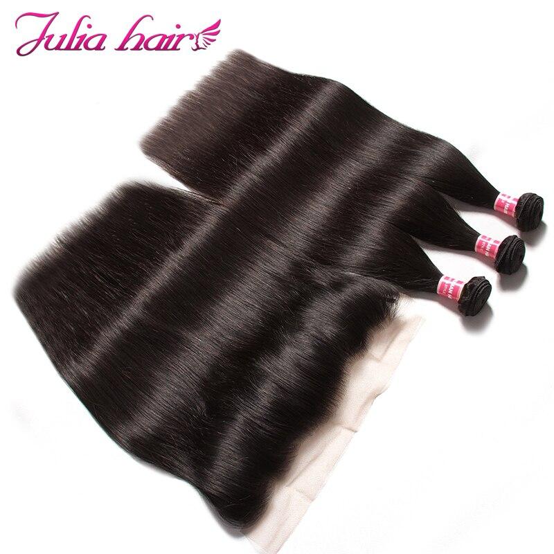 Ali Julia Hair Peruvian Straight Human Hair 3 Bundles With Frontal Closure 13 4 Pre Plucked