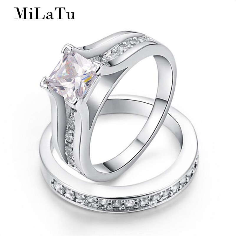 MiLaTu Luxury Wedding Ring Sets For Women Princess Cut CZ ...