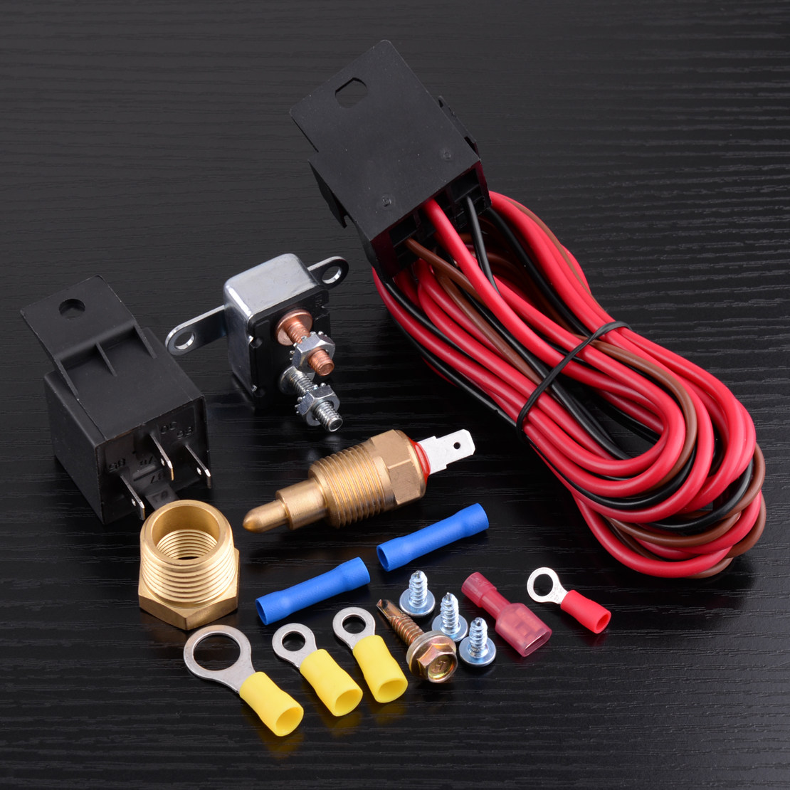 Online Shop Car Engine Cooling Fan Thermostat Temperature Switch Vw Radiator Wiring Dwcx 4 Pin Degree Sensor 12v Relay Harness Kit For