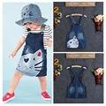 1 PC Bebê Meninas Crianças Gato Denim Macacões Vestidos de Saias Saia Chaves Roupa 2-7A