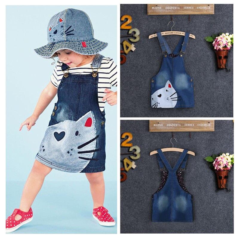 1 StÜck Baby Mädchen Kinder Katze Denim Overalls Kleider Röcke Klammerrock Kleidung 2-7y