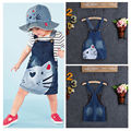 1PC Baby Girls Kids Cat  Denim Overalls Dresses Skirts Braces Skirt Clothes 2-7Y