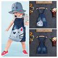 1PC Baby Girls Kids Cat  Denim Overalls Dresses Skirts Braces Skirt Clothes 2-7Y