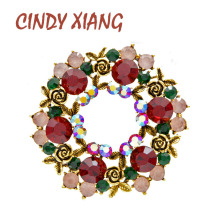 CINDY XIANG Red And Green Color Rhinestone Rose Circle Flower Brooches For Women Vintage Christmas Jewelry Brooch Pin New 2019