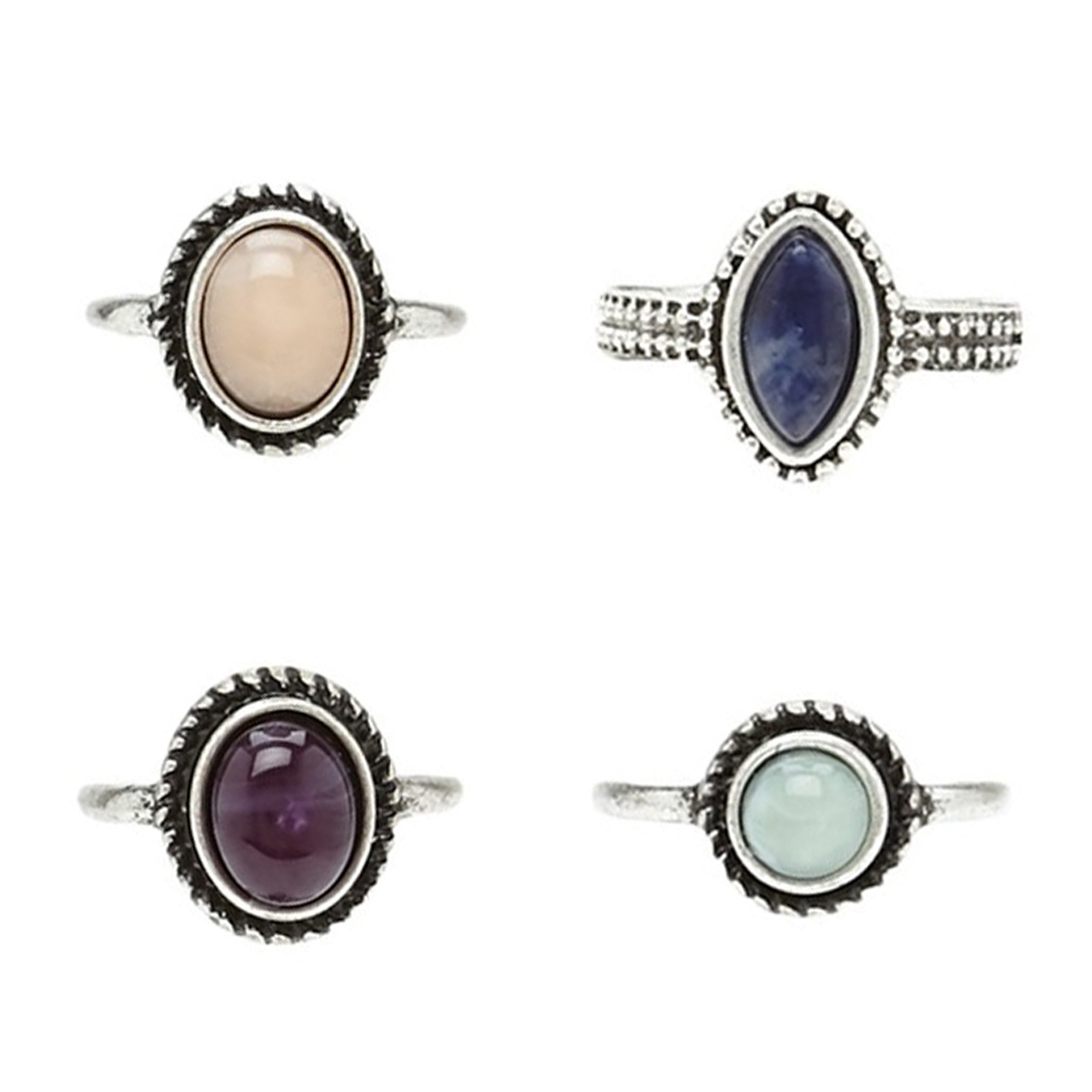 4 Pcs/Set Antique Silver Bohemian Midi Ring Set Crystal Stone Vintage Steampunk Anillos Knuckle Rings For Women Boho Jewelry